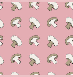 seamless pattern with mushrooms champignons vector image