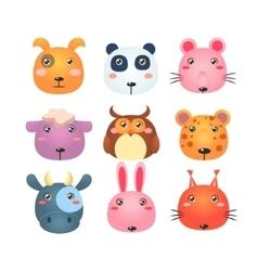 Set cartoon animal head icons vector