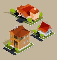 Set isometric residential houses vector