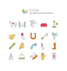 Set line icons equestrian sport vector