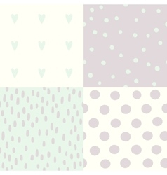 Set of 4 hand drawn cute seamless patterns vector