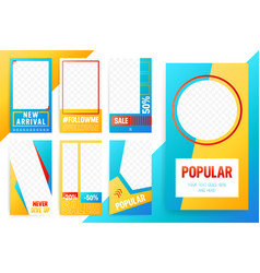Set of 7 bright editable template for stories vector
