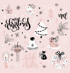 set of christmas hand drawn decorative vector image
