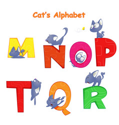 set of english alphabet with fun cartoon vector image