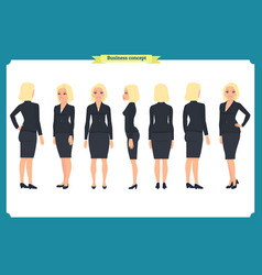 Set of young businesswoman presenting vector