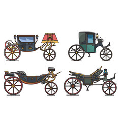 set retro cab or carriage medieval chariot vector image
