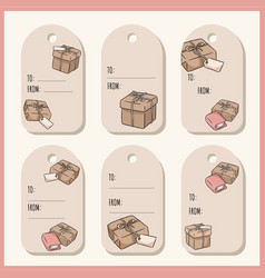 Set with hand drawn gift boxes doodles gift tags vector