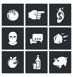 Shame ridicule icons vector