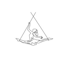 Single continuous line drawing a female acrobat vector