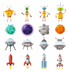 space cartoon icons set planets rockets ufo vector image