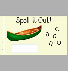 Spell it out canoe vector
