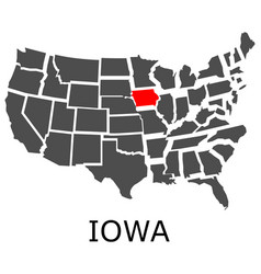 state iowa on map usa vector image