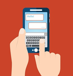 Texting sending SMS from smartphone vector image