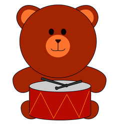 toy bear and drums on white background vector image