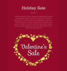 valentines sale poster heart made of golden stars vector image