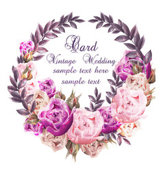 Vintage wedding card with roses wreath vector