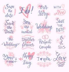wedding day marriage phrases text lettering vector image