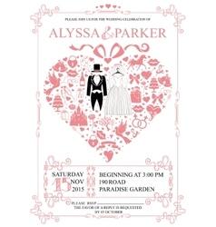 Wedding invitation with heart compositionWedding vector