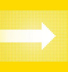 White arrow defined small yellow dots vector
