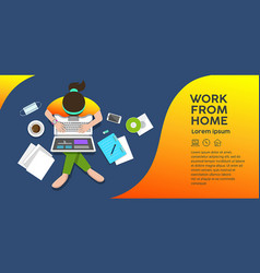 Woman sitting work computer from home top view vector