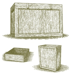 Woodcut Wooden Crates vector image