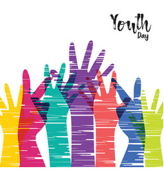 Youth day card of diverse people group hands vector