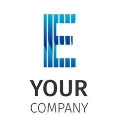 Abstract blue logo E vector image