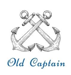 Heraldic sketch of crossed nautical anchors vector image vector image