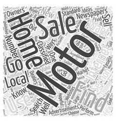 How to Find Motor Homes for Sale Word Cloud vector image vector image