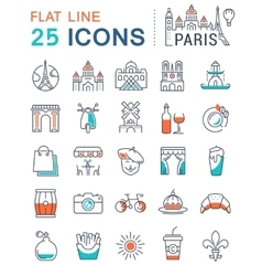 Set Flat Line Icons Paris and France vector image