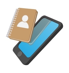 Smartphone with address book cartoon icon vector image