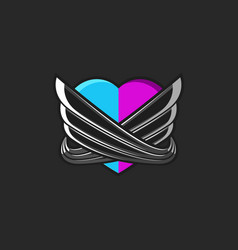 a stylized heart consisting of two unified halves vector image