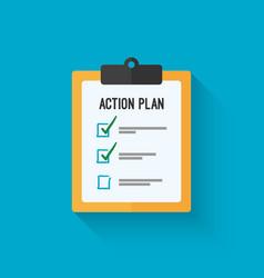 Action plan clipboard icon design over a blue vector image vector image