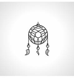 Black line dream catcher icon vector image