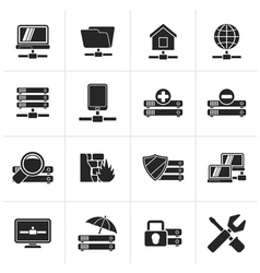 Black server hosting and internet icons vector