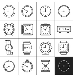 Clock and watch icons vector image vector image