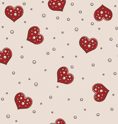 Hearts and pearls seamless background pattern vector image vector image