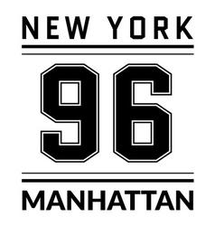 T shirt typography graphic New York city Manhattan vector image