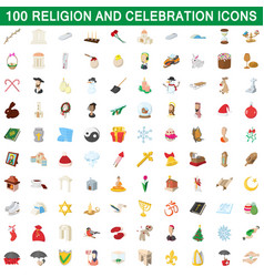 100 religion and celebration icons set vector image