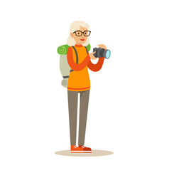 Active tourist senior woman with backpack taking vector