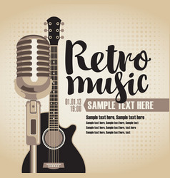 banner for concert with guitar and microphone vector image vector image