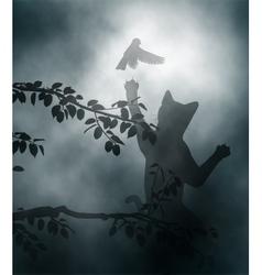 Cat ambushing songbird vector image vector image