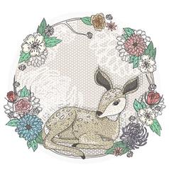 Cute baby deer and flowers frame vector image vector image