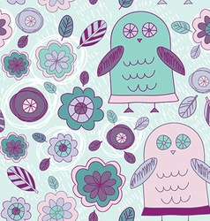 Funny hand drawn owls leaves and flowers Purple vector image vector image