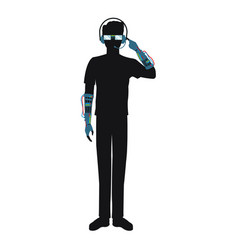 man using glasses headset vr technology silhouette vector image
