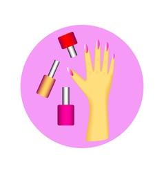 nail polish in circle vector image vector image