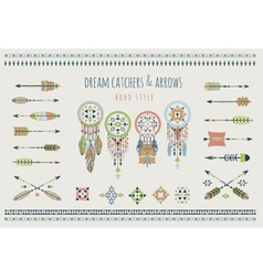 Set of arrows dream catchers Indian elements vector image vector image