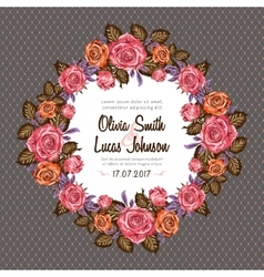 Vintage wedding invitation card frame with roses vector image vector image