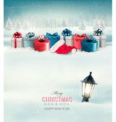 Winter Christmas background with presents and a vector image vector image