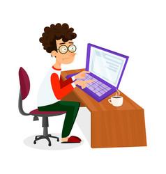 Cartoon young programmer man is working vector